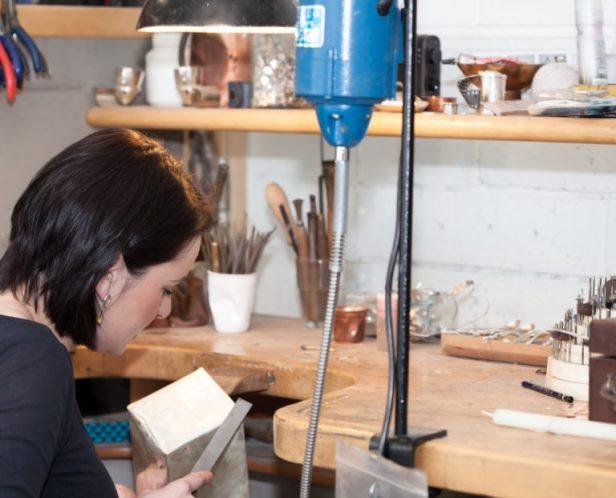 Rebecca working in her studio.