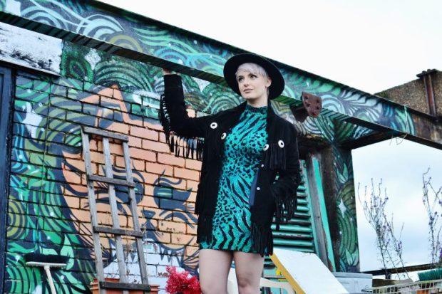 leopard print - green dress & suede jacket